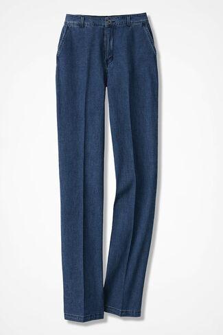 Lightweight Tailored Denim Trousers, Medium Wash, large