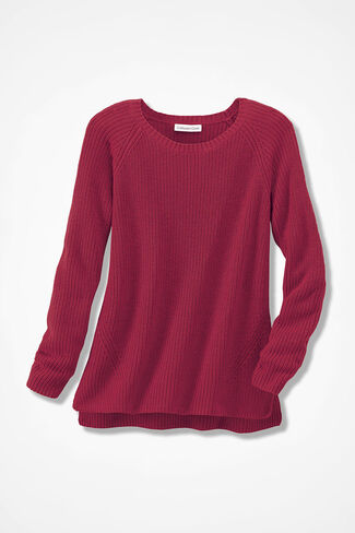 Shaker High/Low Pullover, Dover Red, large