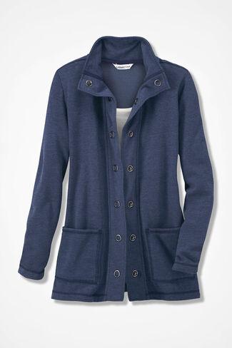 NEW! Colorwashed Fleece Snap Cardigan, Navy, large