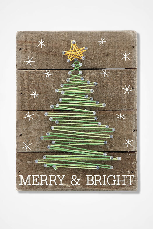 Merry and Bright String Art, Brown, large