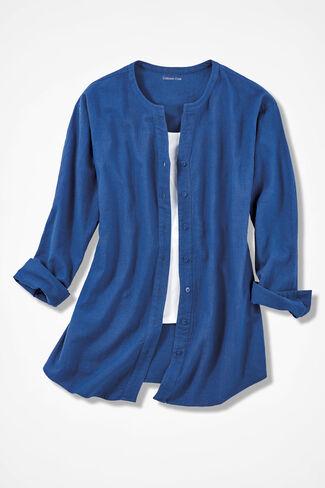 Crinkle Cotton Big Shirt, Cobalt, large