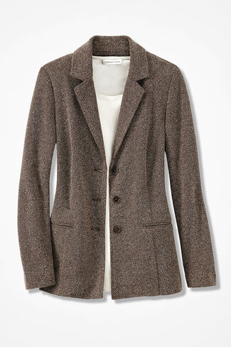 Stretch Tweed Knit Jacket, Brown/Cream, large