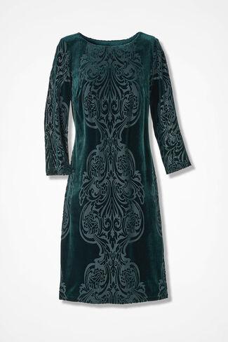 Scrolled Velvet Knit Dress, Spruce, large