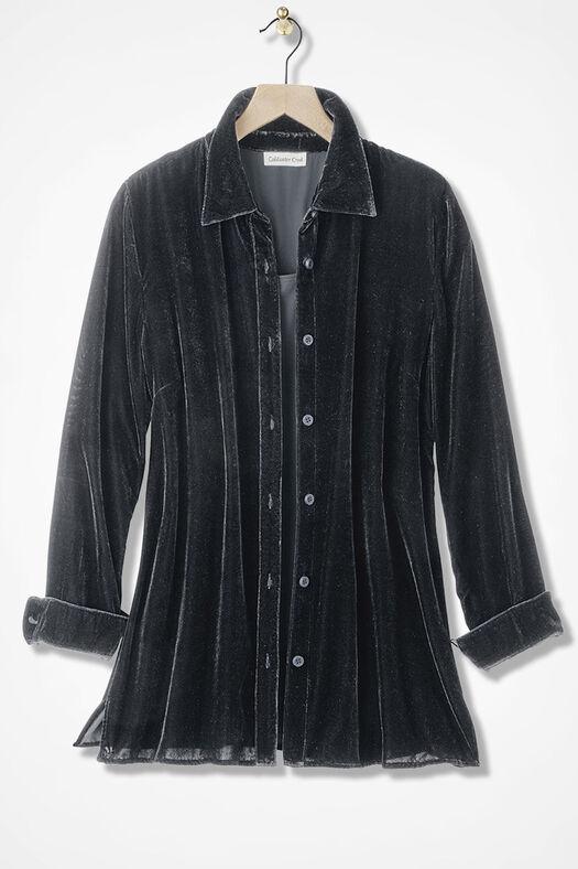 Velvet Big Shirt, Black, large