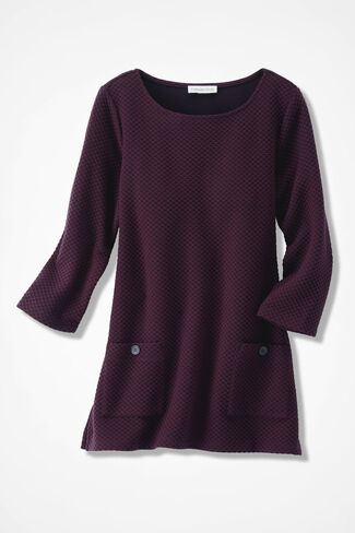 Textured Knit Tunic, Blackberry, large