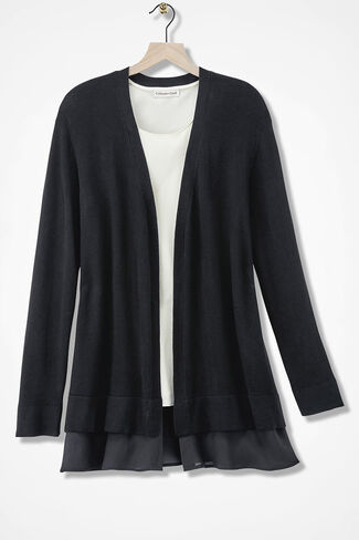 Chiffon-Trim Open Cardigan Sweater, Black, large