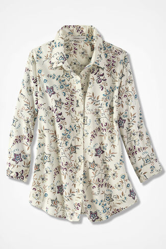 Stitched Floral Easy Care Shirt, Ivory Multi, large