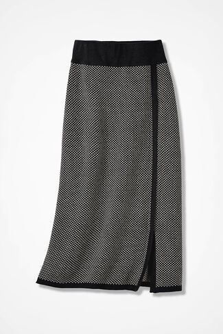 Bird's-Eye Sweater Skirt, Black, large