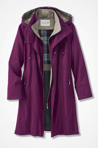 All-Season Long Coat, Mulberry, large