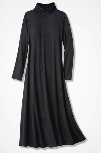 Ruched-Neck Maxi Dress, Black, large