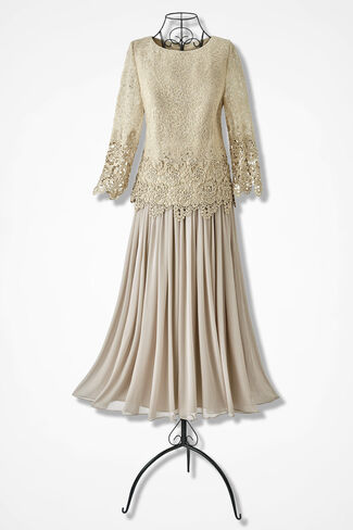 Nights of Lace and Chiffon Dress by Alex Evenings, Gold, large