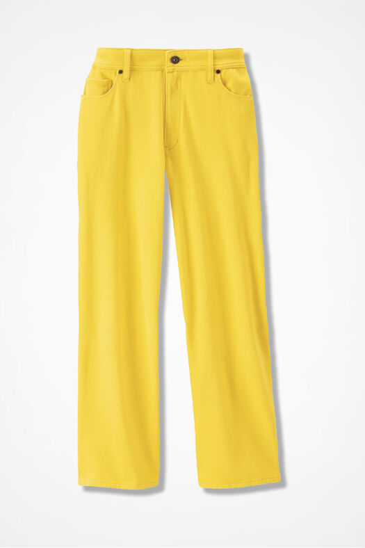 Knit Denim Cropped Jeans, Canary Yellow, large