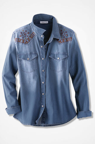 Western Skies Denim Shirt, Light Wash, large