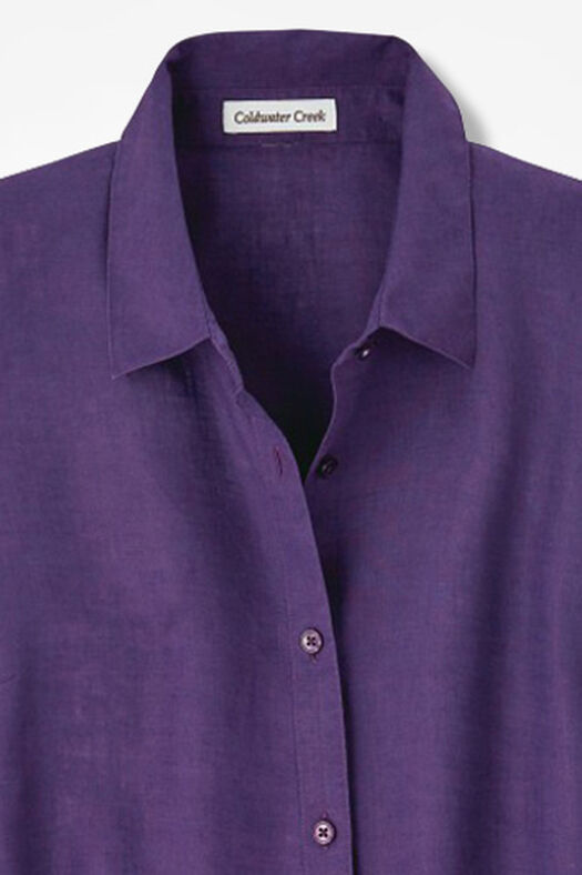 Linen Big Shirt, Aubergine, large