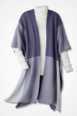 Colorblock Sweaterknit Ruana, Deep Thistle, large