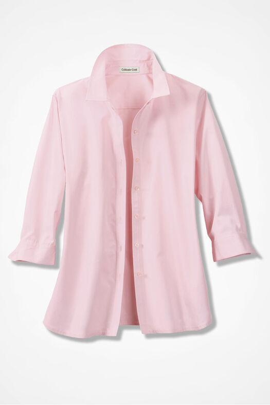 Three-Quarter Sleeve Easy Care Shirt, Soft Pink, large