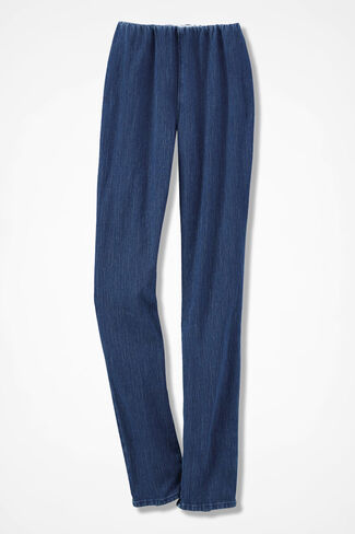 Knit Denim Slim-Leg Leggings, Medium Wash, large