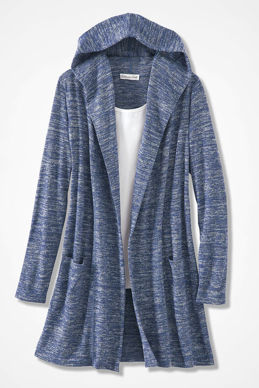 Dream-Soft Plush Hooded Duster, India Ink, large