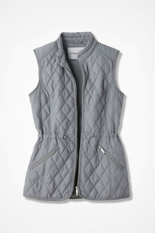 Quilted Drawstring Vest, Pewter, large
