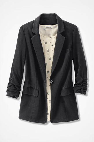 Signature Knit Crepe Boyfriend Jacket, Black, large