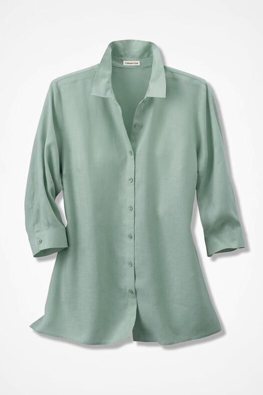 Linen Big Shirt, Agave Green, large