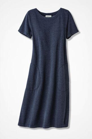Colorwashed Fleece Skimmer Dress, Navy, large