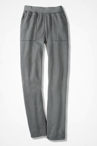 Colorwashed Fleece Straight-Leg Pants, Grey Dusk, large