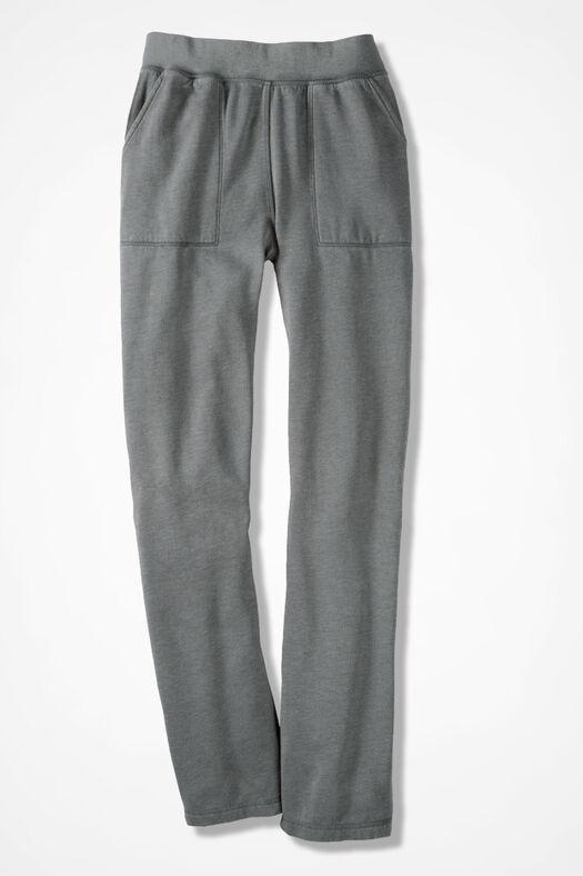 Colorwashed Fleece Straight-Leg Pants, Grey Dusk, large