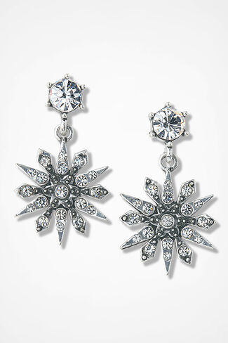 Snow Glow Sparkling Earrings, Silver, large