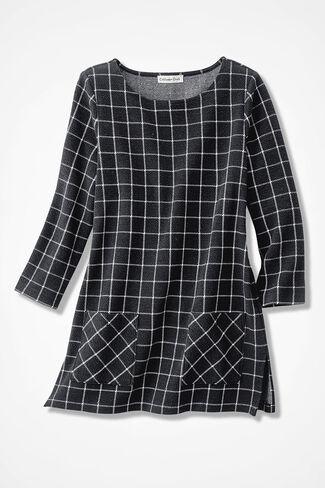 Windowpane Textured Knit Tunic, Black, large
