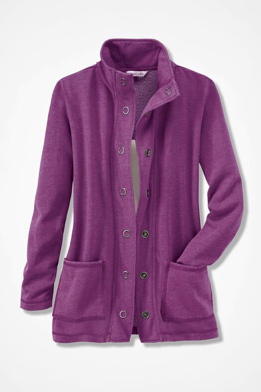 NEW! Colorwashed Fleece Snap Cardigan, Currant, large