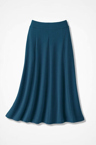 Signature Knit Crepe Skirt, Dark Peacock, large