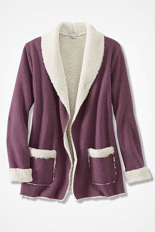 Fleece-Lined Knit Cardigan, Heather Mulberry, large