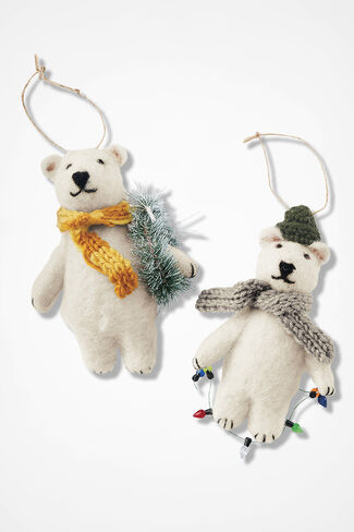 Bear Pair Ornaments, White, large