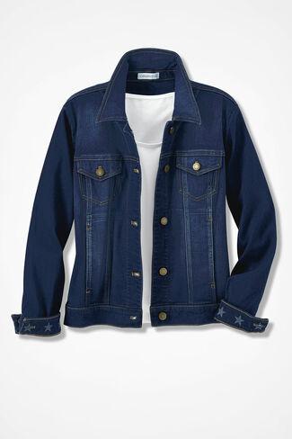 Star-Cuff Denim Jacket, Dark Wash, large