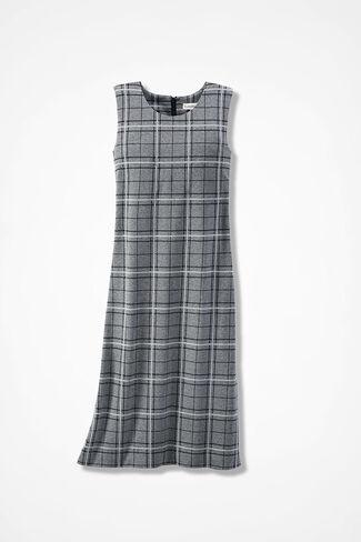 Ponte Perfect® Plaid Dress, Grey Multi, large