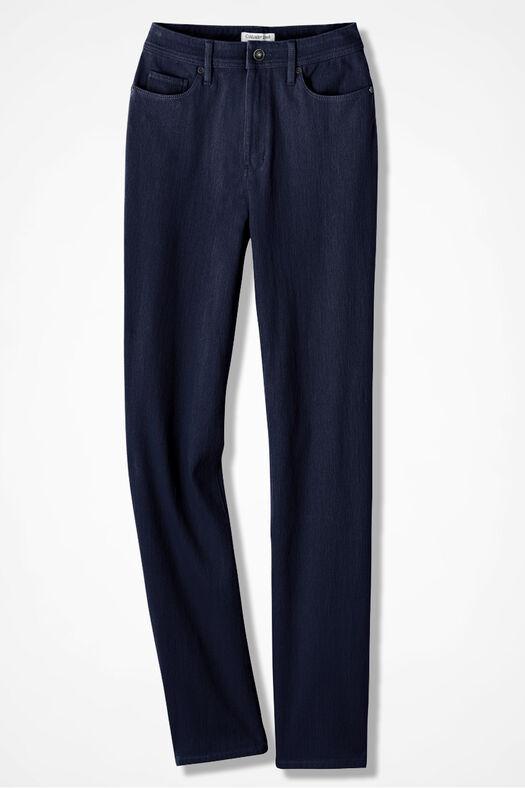 Knit Denim Straight-Leg Jeans, Dark Wash, large