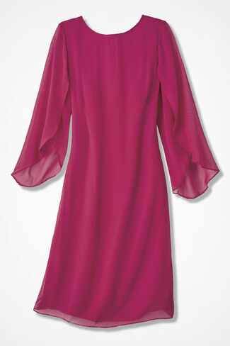 Center Stage Chiffon Dress, Raspberry, large