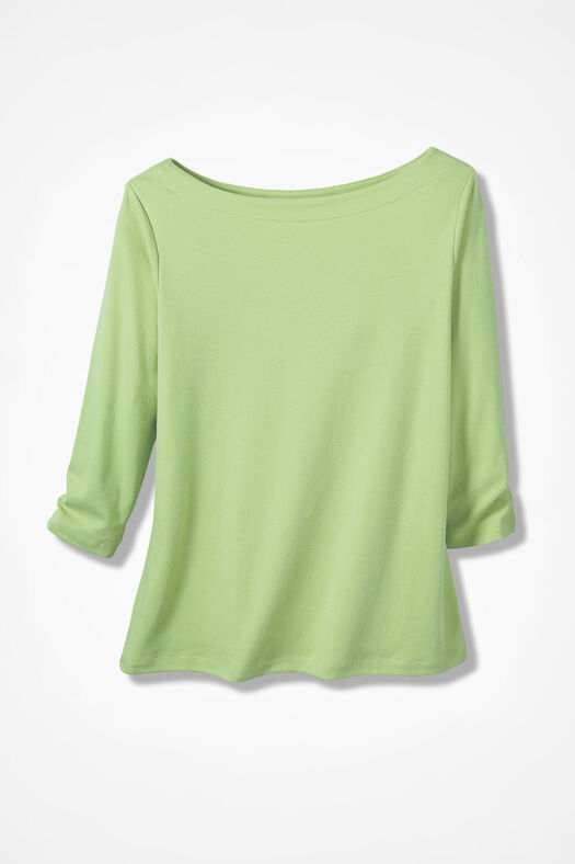 Essential Supima® Boatneck Tee, Bright Peridot, large
