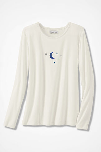 Night Sky Knit PJ Top, Ivory, large