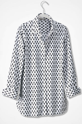 Leaf Print Anytime Easy Care Tunic, Black/White, large