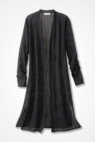 Illusion Ribbed Sheer Duster Sweater, Black, large
