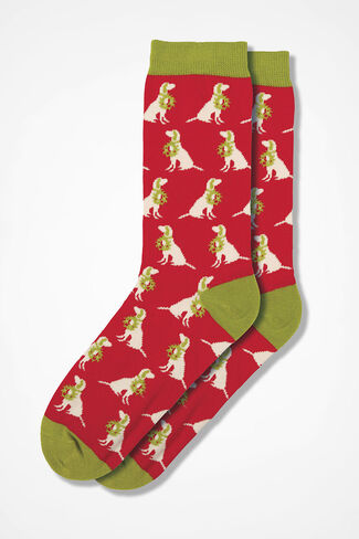 Labradors Happy Holiday Socks, Red Multi, large