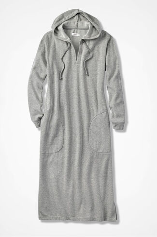Hooded Fleece Lounger, Heather Grey, large