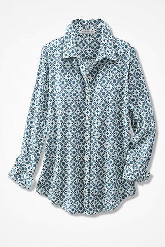 Tile Print Easy Care Shirt, Ivory Multi, large