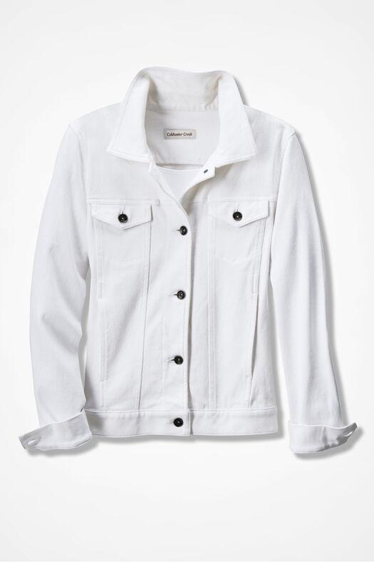 Knit Denim Jacket, White, large