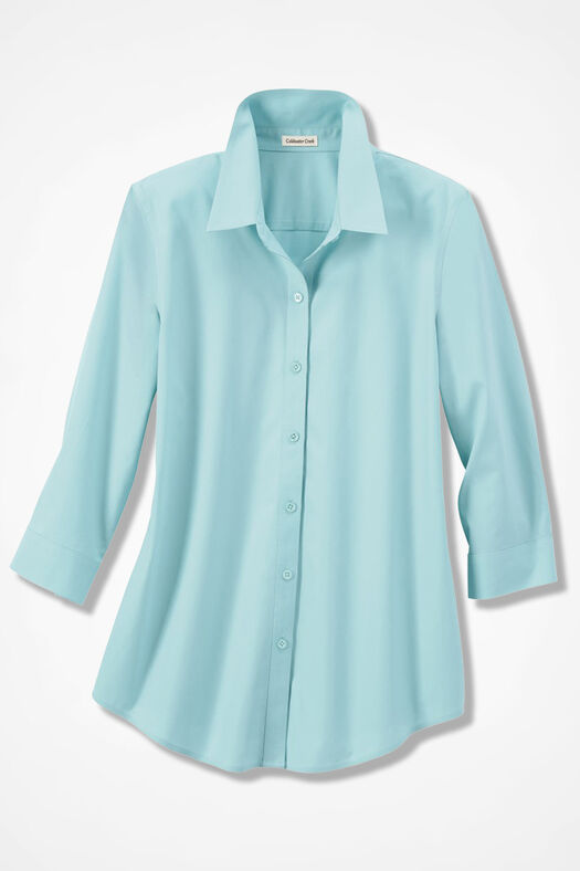 Three-Quarter Sleeve Easy Care Shirt, Clearwater, large