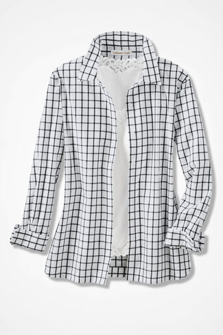 Windowpane Check Easy Care Shirt, Ivory Multi, large