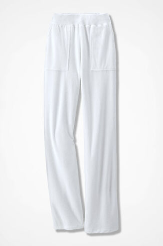 Time for Terry Straight Leg Pants, White, large