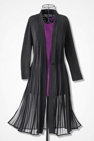 Chiffon Soirée Long Pleated Jacket, Black, large